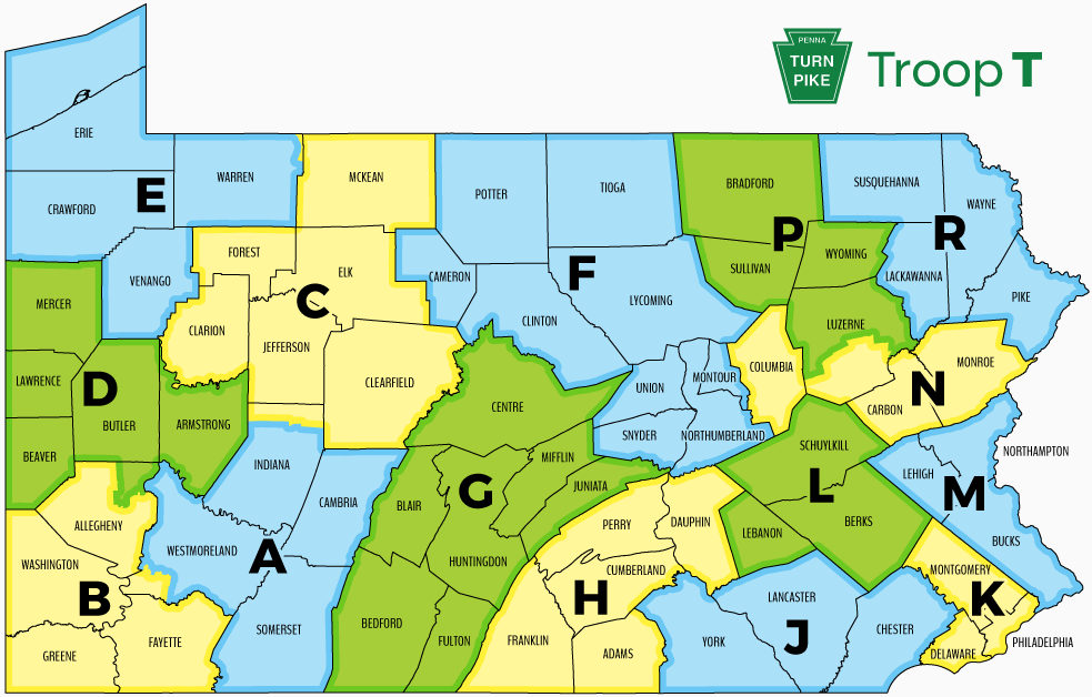 Pa State Map PSP Troop Directory